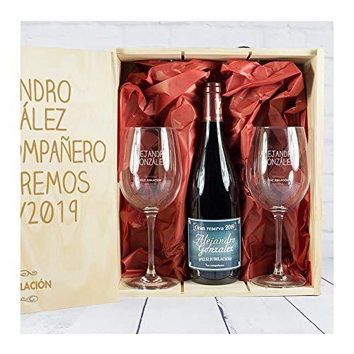 Calledelregalo Regalo para jubilación: Kit Personalizado con Botella de Vino + Copas de Vino en Caja de Madera