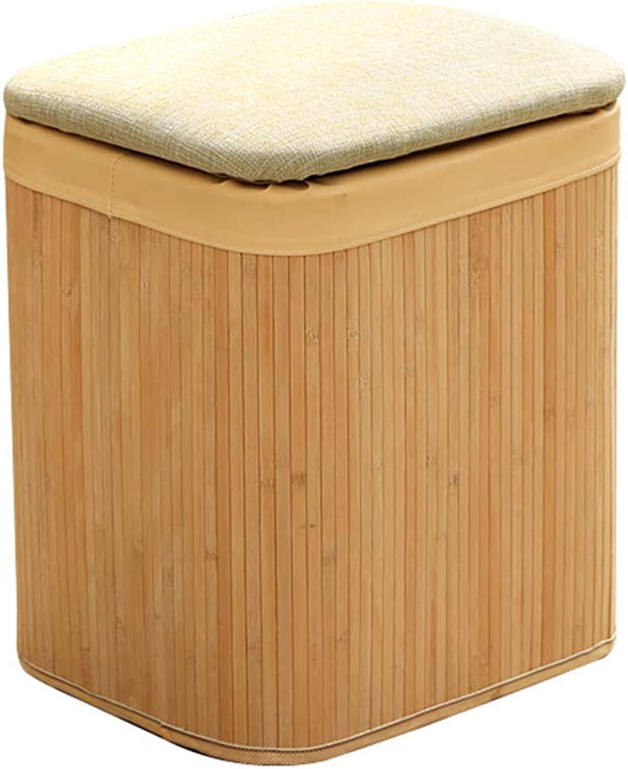 Storage Stool Creative Foot Rest Stool Solid Wood Bamboo Home Living Room Kitchen Bearing Weight 150Kg,M