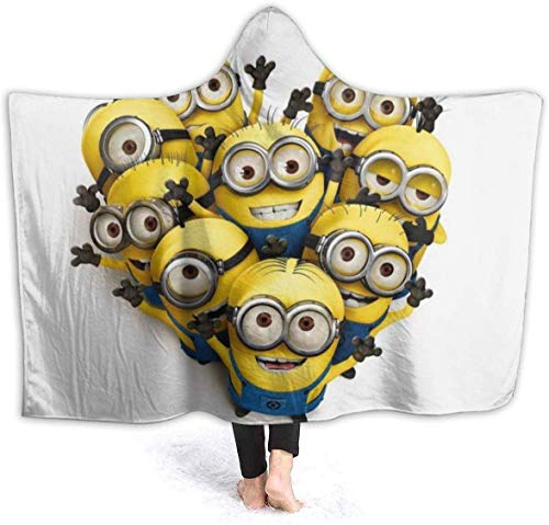 NR Mit Kapuze Decke Despicable Me Minions Cartoon Throw Decken Sherpa Fleece Wearable Cuddle Warm Soft Mit Kapuze Decken für Erwachsene Männer Frauen 60x50 Zoll, 60x50 Zoll