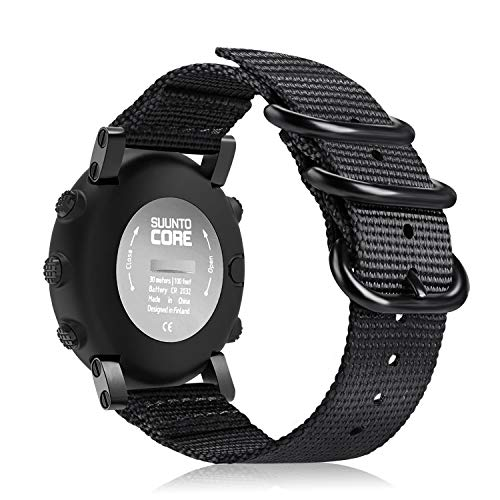Fintie Watch Band Compatible with Suunto Core, Premium Woven Nylon Replacement Sport Strap with Metal Buckle Compatible with Suunto Core Smart Watch, Black