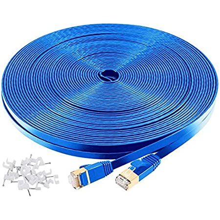 Cat7 Premium Patch Cable Fast Speed Shielded S//FTP Ethernet Cord RJ45 600Mhz LOT 30ft, Blue