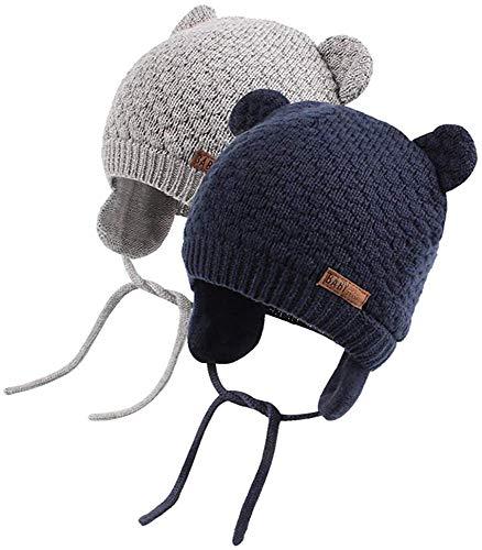 DRESHOW Sombrero de Bebé Gorro de Bebé Niña Lindo Oso Oreja Recién Beanie Gorro de Punto Cálido para Otoño Invierno