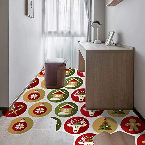 Sechseckiger Bodenaufkleber, weihnachtlicher wasserdichter Fliesenaufkleber, Oberfläche mit Köperfolie, rutschfest und verschleißfest