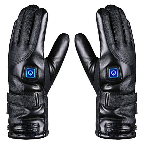 Diantai - 1 par de guantes calefactables eléctricos de invierno impermeables de piel con 3 temperaturas y 7,4 V, 4000 mAh, batería para mujeres y hombres