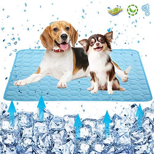 Kühlmatte für Hunde und Katzen, selbstkühlendes Schlafbett, waschbar, Eisseide, Haustierhütte, Sofa, Bett, Bodendecke, Reise, Autositze (10231 cm, blau)