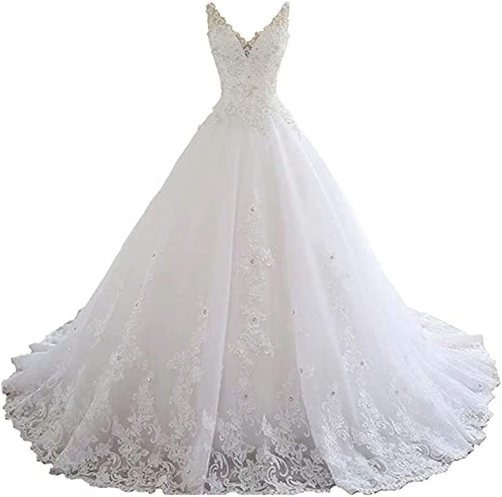 Yuxin Luxury Lace Beaded Wedding Dresses 市販 Straps V 春の新作 Neck 2021 Long
