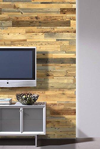 wodewa Wandverkleidung aus Holz Altholz sonnenverbrannt 1m² Echtholz Wandpaneele Holzwand - 2