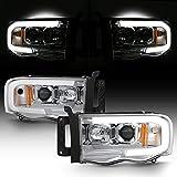 ACANII - For 2002-2006 Dodge Ram 1500 03-05 2500 3500 Chrome Housing LED Tube Projector Headlights Headlamps Left+Right