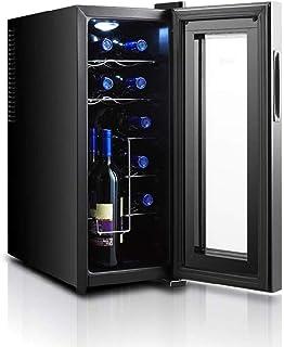 ワインクーラーの12ボトル、静かなランニング熱電ワイン冷蔵庫自立型小型ワインクーラータッチスクリーン家庭/オフィス用デジタル温度ディスプレイ