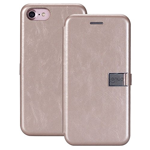 Caiyan-mooi hoesje voor iPhone 8 & 7 PU + TPU gedistilleerd bed paard textuur horizontale Alternate lederen tas exact uitsparing case met kaartsleuven, goud