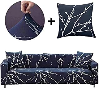 Bikuer Printed Dark Blue Sofa Cover Stretch Couch Cover Sofa Slipcovers for 3 Cushion Couch with 2 Free Pillow Case (3 Seat Sofa, Branches)