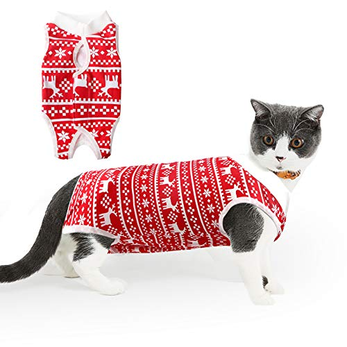 HEYWEAN Christmas Cat Professional Surgical Recovery Suit for Abdominal Wounds Skin Conditions, After Surgery Wear, E-Collar Alternative for Cats, Home Indoor Pets Clothing Xmas