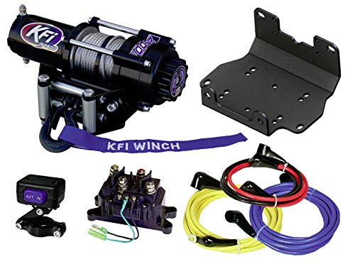 KFI A2500-R2 2500lb Winch & 101275 Winch Mount kit Compatible/Replacement for 2016-2021 Yamaha Grizzly 700 4x4