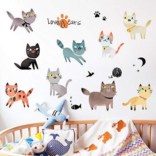 Literarische Katzentapete selbstklebende Schlafzimmerdekoration Wandsticker Zimmer wasserdicht Aufkleber springende Katze