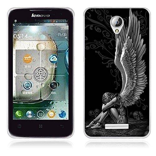 FUBAODA für Lenovo A5000 Hülle, [Engel] Künstlerische Malerei-Reihe TPU Case Schutzhülle Silikon Case für Lenovo A5000