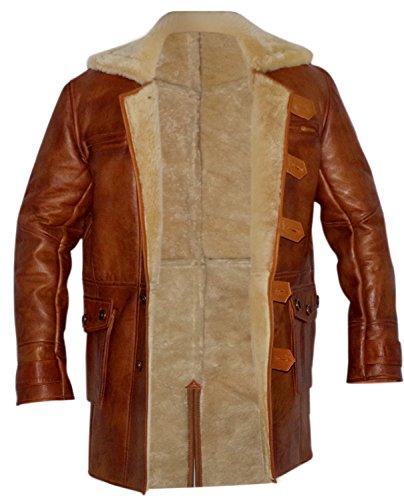 Men's Swedish Bomber Distressed Brown Real Shearling Sheepskin Leather Coat (2XL)