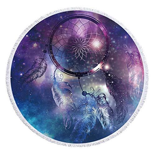 Atrapasueños Pluma Redonda Toalla de Playa Boho Mandala Indio Microfibra Manta Borlas Franja Cielo Estrellado Universo Estera de Yoga Baño de Natación Picnic Pared Tapicería (Dream Catcher 9)