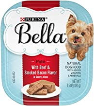 Purina Bella Natural Small Breed Pate Wet Dog Food, With Beef & Smoked Bacon in Savory Juices - (12) 3.5 oz. Trays (050000004966)