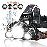 LED Headlamp, 6000 Lumens Max 4 Modes Waterproof Head Flashlight Light...