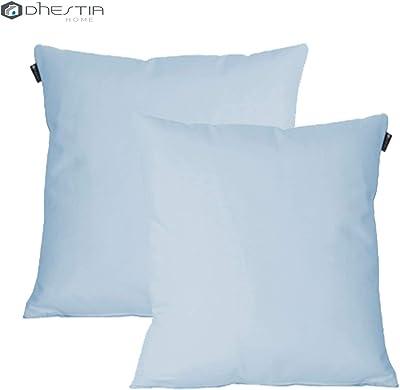 DHestia Lot de 2 Housses de Coussin en Toile pour canapé et lit 45 x 45 cm Bleu Ciel 160 / Bleu Ciel 45 x 45 cm
