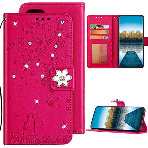Huawei P Smart 2019 Hülle Leder Tasche Flip Case Glitzer Bling Diamant Brieftasche Schutzhülle,Katze Kirschblüten Muster Klapphülle Handyhülle mit Kartenfächer für Huawei P Smart 2019,Rose Rot
