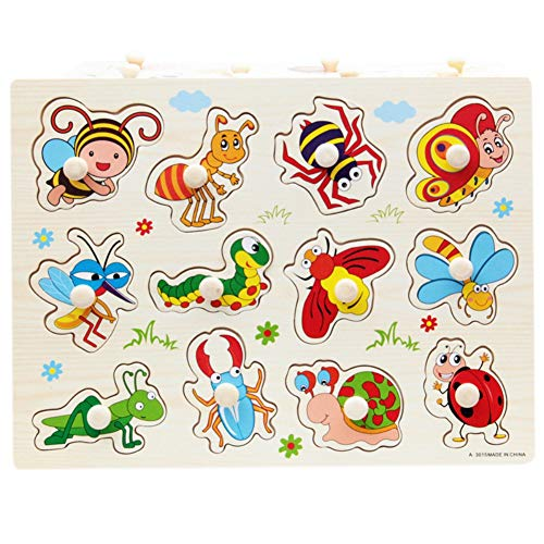 BOBORA Puzzles Infantiles de Madera Juegos Juguetes Educativos de Aprendizaje Juguete Rompecabezas de Madera para Niños Pequeños de 1 Año