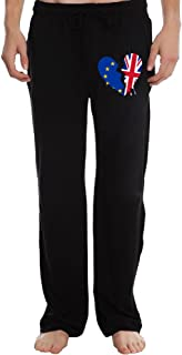 EVALY Men's Heart Broken EU UK Britain Exit European Union Vintage Short Sweatpants Black