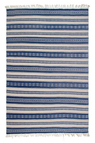 FAB HAB Chatsworth - Tapis Bleu en Polyéthylène recyclé (Fibres Polyester) pour intérieur/extérieur (90 cm x 150 cm)