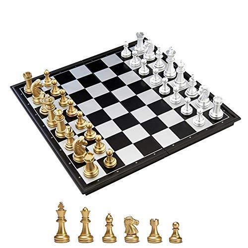 KOKOSUN チェスセット 国際チェス マグネット式 折りたたみ盤 チェスボード 金と銀の駒 収納便利 (S)