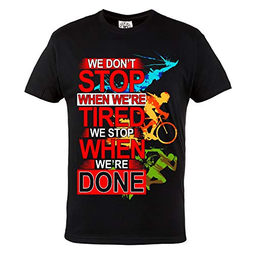 Rule Out T-Shirt para Hombre. Triathlon. Nadar. Bicicleta. Correr. Iron Man. Casual Wear (Talla Xxlarge)