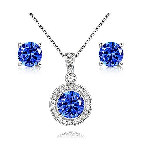Uloveido 925 Sterling Silber Blau Natürliche Topas Edelstein Halskette Anhänger und Ohrringe Ohrstecker Braut Hochzeit Schmuck Set FT003