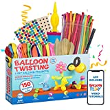 Deluxe Balloon Animal Kit with App | 150 Balloons in 4 different Shapes + high quality balloon pump + Stickers + Marker + Balloon App with 40+ video tutorials, fun gift for all ages