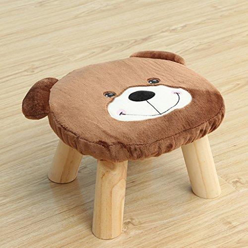 Pequeño Taburete Taburete de Arte de Tela de Madera sólida Taburete de té para Adultos Taburete Corto sofá de Sala de Estar (Color : Brown)