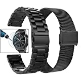 Valkit Compatible with Gear S3 Frontier Bands, 22mm Solid Stainless Steel Metal Watch Band Business Bracelet Strap+Screen Protector Replacement for Gear S3 Frontier/Classic/Galaxy Watch 46mm, Black