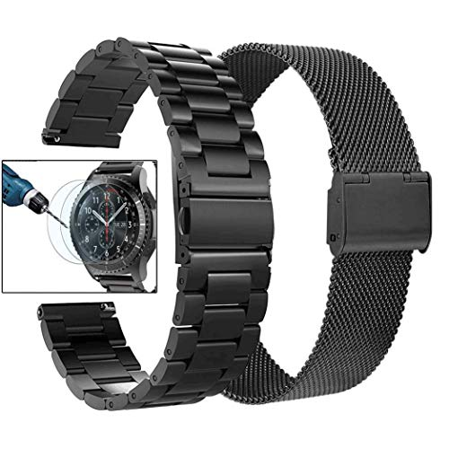 Price comparison product image Valkit Compatible with Gear S3 Frontier Bands,  22mm Solid Stainless Steel Metal Watch Band Business Bracelet Strap+Screen Protector Replacement for Gear S3 Frontier / Classic / Galaxy Watch 46mm