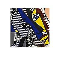 Roy Lichtensteinロイ・リキテンスタインによるポップアート4 ポスター装飾画キャンバスウォールアートリビングルームのポスター寝室の絵画16x16inch(40x40cm)
