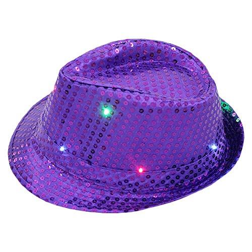Wankd led hut, Party Hut mit Pailletten und LED Beleuchtung, Unisex-Erwachsene, Einheitsgröße (Lila)