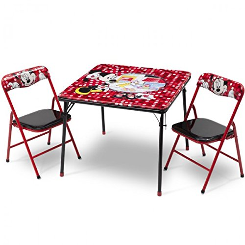 Delta Children's Products Disney Minnie Mouse Kindersitzgruppe Sitzgruppe Klapptisch Klappstuhl KIndermöbel Tisch + 2 Stühle