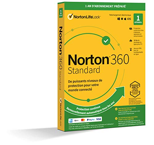 Norton 360 Standard 2021 | 1 Appareil | Antivirus, Sécurité Internet, Gestion Mots de Passe, Protection Webcam, VPN, 10 GO Stockage Cloud   | 1 An | PC/Mac/Android/iOS