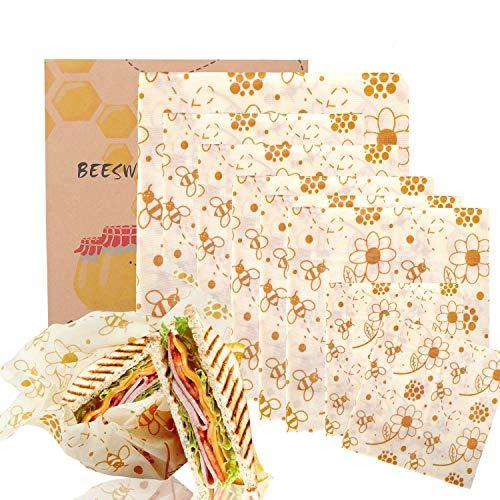BALFER Bienenwachs-Wraps 8er-Set, Wachspapier Bienenwachstücher aus natürlichem Bienenwachs und Öko-Tex Baumwolle, für natürliche Lebensmittelaufbewahrung, Keine Abfälle…