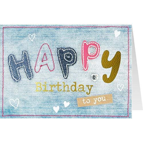 Sheepworld, Gruss und Co. - 90763 - Klappkarte, mit Umschlag, Jeans, Nr. 31, Geburtstag, Happy Birthday to you