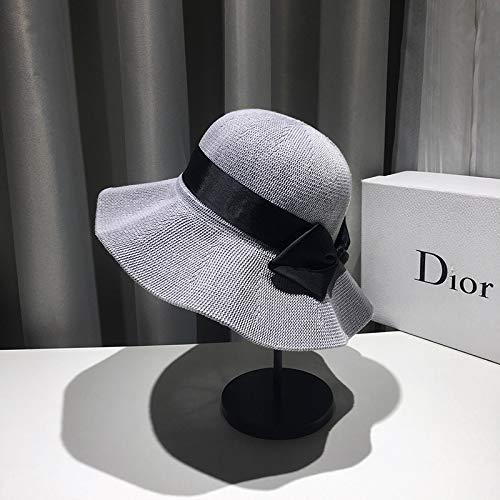 Verano japonés Bowknot Sombrero Sombrero para el Sol Mujer Protector Solar Sombrero Grande Sombrero para el Sol Cara Redonda versión Coreana