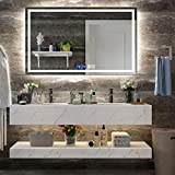 GLLAVORI 36 x28 Inch LED Lighted Wall Mounted Mirror for Bathroom Vanity with High Lumen + Horizontal Hanging + Time & Temperature Display + Anti Fog and Dimmable Memory Touch Switch + IP54 Waterproof