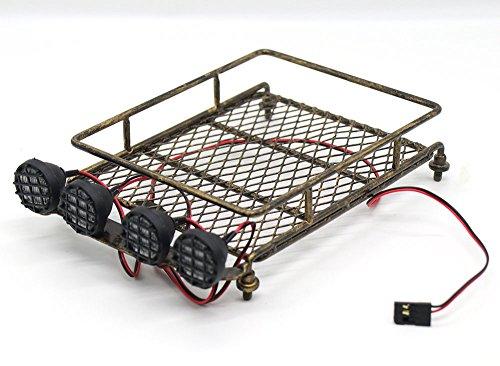 WishRing RC 1:10 Roof Luggage Rack LED Light Bar Wrangler Tamiya CC01 SCX10 Axial 513 (Coppery)