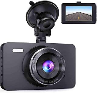 "CREUSA® Dash Cam, 1080P 3"" LCD Screen 170°Wide Angle DVR Full HD WDR Car Dashboard Camera with G-Sensor, Loop Recording Motion Detection, Superior Night Mode (Black)"