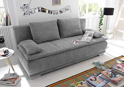 lifestyle4living Schlafsofa in Grau mit Bettkasten, 2-Sitzer Sofa mit Schlaffunktion, Microfaser-Stoff/Federkern-Polsterung | Gemütliche Schlafcouch in modernem Design