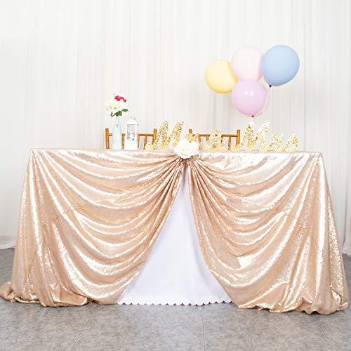 ShinyBeauty Pailletten Tischdecke-125x180cm Pailletten Stoff Hochzeit (Champagner, 125 x 180 cm)