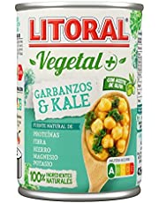 LITORAL Super Alimentos Plato Preparado de Garbanzos con Kale, Sin Gluten, 425g