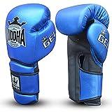 Guantes de Boxeo Muay Thai Kick Boxing Buddha Pro Gel (12 Onz, Azul)