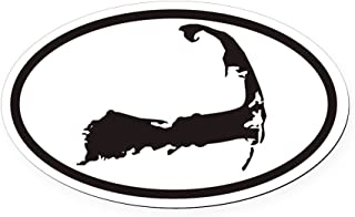 CafePress Cape Cod Euro Oval Car Magnet with Map Oval Car Magnet, Euro Oval Magnetic Bumper Sticker